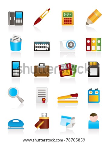 Simple Office tools Icons - vector icon set 3 - stock vector