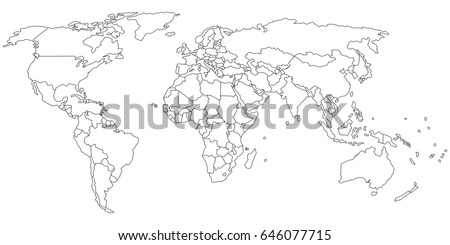 Simple outline world map on transparent vector de stock646077715 simple outline of world map on transparent background gumiabroncs
