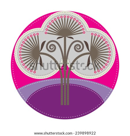 simple patchwork round badge with thistle on foreground - stock vector