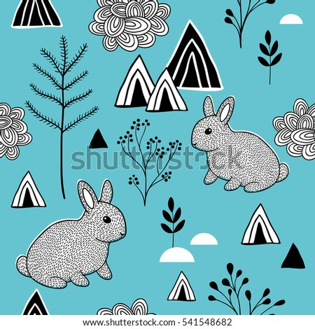 Simple pattern in scandinavian style. Endless vector illustration.