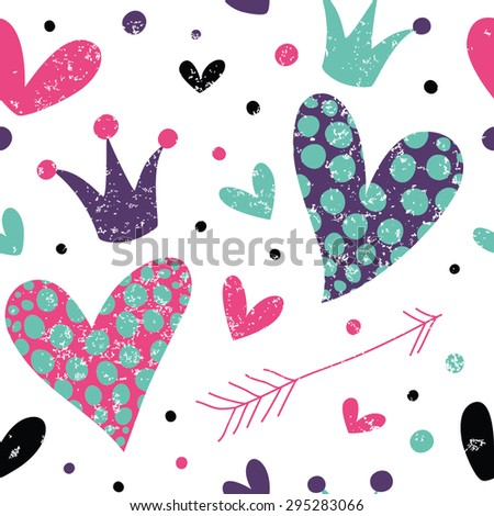 Simple pattern with hearts, arrow and crowns. Great for Baby, Valentine's Day, Mother's Day, wedding, scrapbook, surface textures. - stock vector