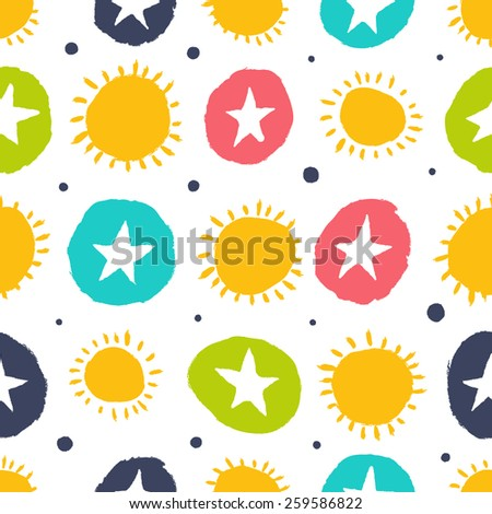 Simple pattern with stars and the sun. Seamless background can be used for wallpapers, pattern fills, web page backgrounds, surface textures. - stock vector