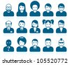 Simple people avatars with different style and hairdo - stock vector
