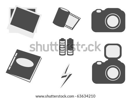 simple photo icon set - stock vector