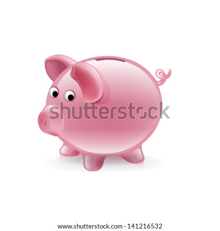simple piggy bank isolated on white background