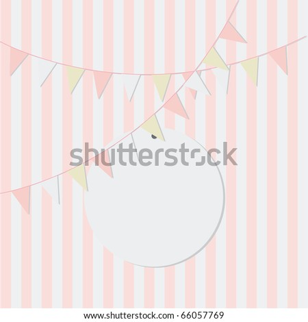 Simple pink birthday card design with bunting for girls - stock vector