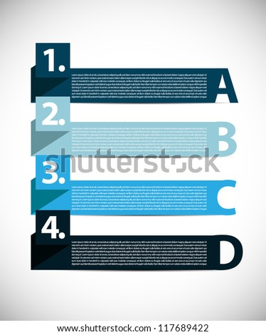 Simple presentation design with letters and numbers - stock vector