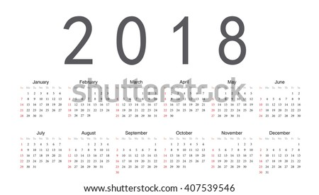 Simple rectangular European 2018 year vector calendar. Week starts from Sunday.