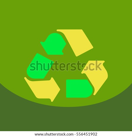Simple Recycle flat icon with stroke on color background