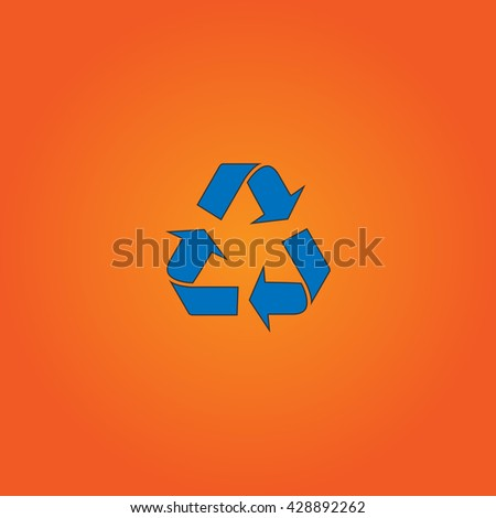 Simple Recycling. Blue flat icon with black stroke on orange background. Collection concept vector pictogram for infographic project and logo