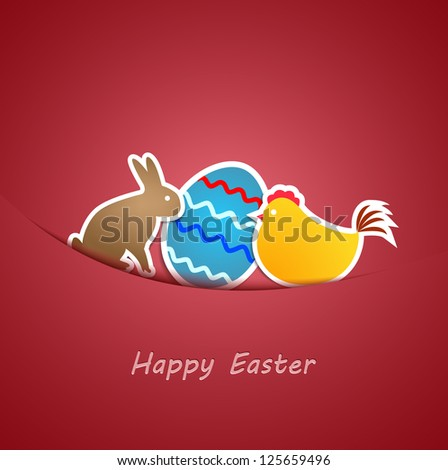 Simple red easter card with egg, chicken and rabbit made from paper stripe-vector - stock vector