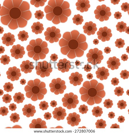simple red flowers, seamless pattern  - stock vector