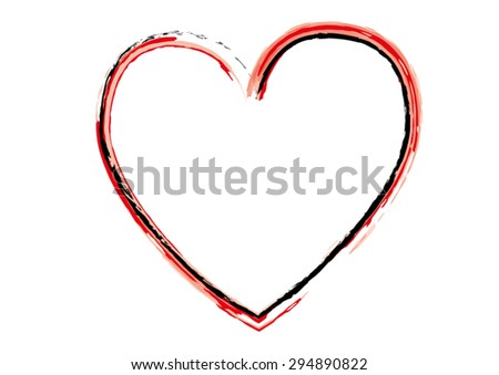 Simple Red Vector Heart by Watercolor on White Background - stock vector