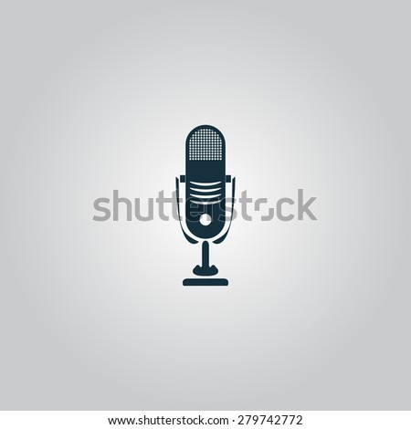 Simple retro microphone. Flat web icon or sign isolated on grey background. Collection modern trend concept design style vector illustration symbol - stock vector
