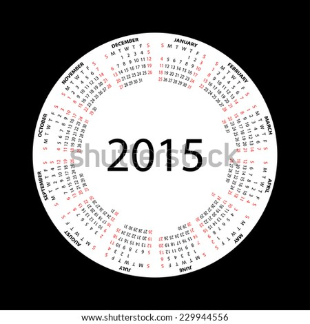 Simple round calendar for 2015 year on black background. Vector EPS10. - stock vector