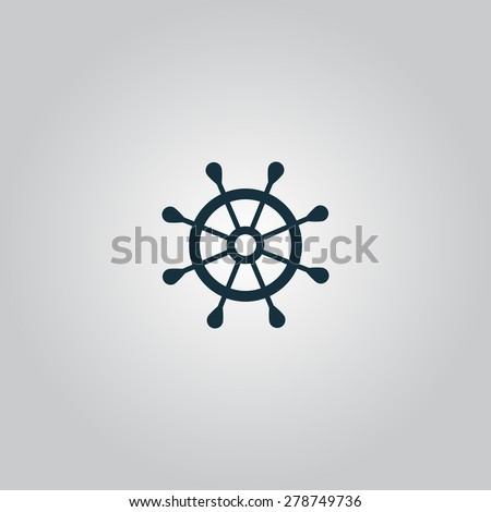 Simple rudder. Flat web icon or sign isolated on gray background. Collection modern trend concept design style vector illustration symbol - stock vector