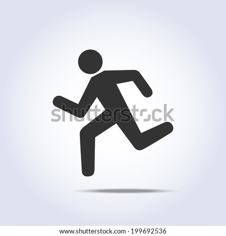 simple running human icon silhouette in vector - stock vector