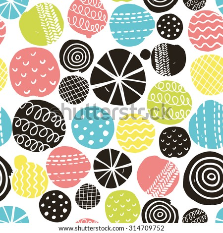 Simple scandinavian pattern. Vector illustration with cute circles. - stock vector