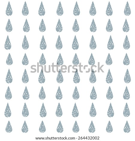 Simple seamless pattern with blue doodle raindrops. - stock vector