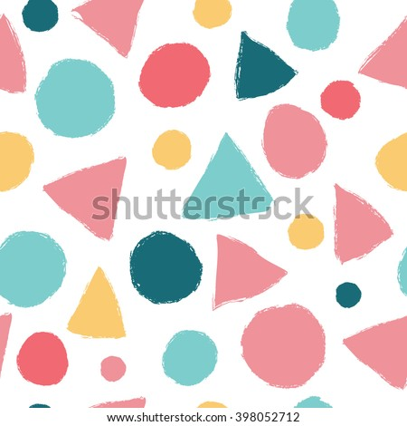 Simple seamless pattern with triangles and polka dots. Seamless pattern can be used for wallpapers, pattern fills, web page backgrounds, background textures. - stock vector