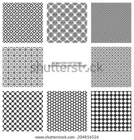 Simple seamless patterns, black and white texture