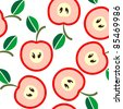 Simple seamless pink apples background - stock vector
