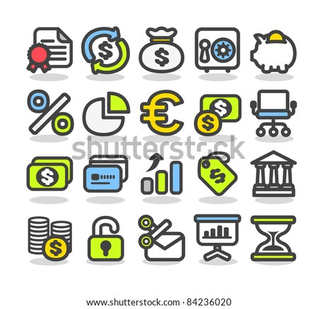 Simple series | Finance,bank,business icon set - stock vector