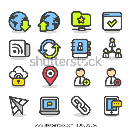 Simple Series | Network,Social Media icon set - stock vector