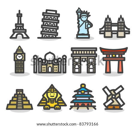 Simple series | travel,  landmark  icon set - stock vector