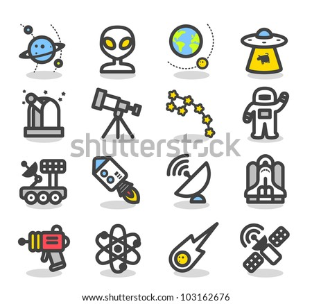 Simple Series | Universe ,Space icon set - stock vector