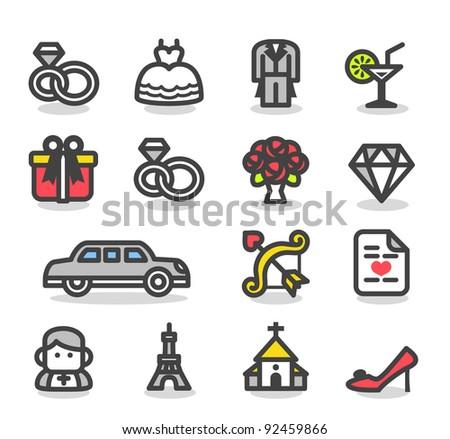 Simple series    Wedding ,love icon set - stock vector
