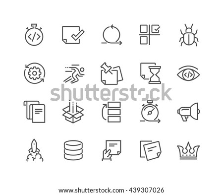 Simple Set of Agile Development Related Vector Line Icons. Contains such Icons as Back Log, Scram Master, Product Release, QA and more. Editable Stroke. 48x48