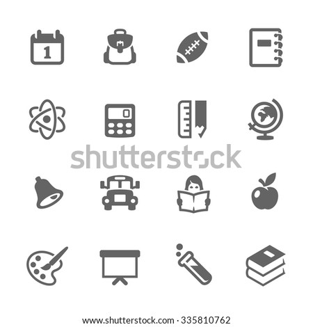 Simple Set of Back to School Related Vector Icons. Contains such icons as school bus, backpack, globe, atom and more. Modern vector pictogram collection. - stock vector