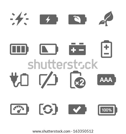 Simple set of battery related vector icons for your design. - stock vector