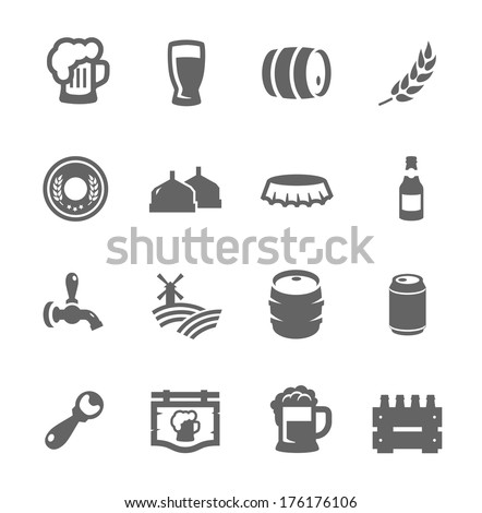 Simple set of beer related vector icons for your design - stock vector