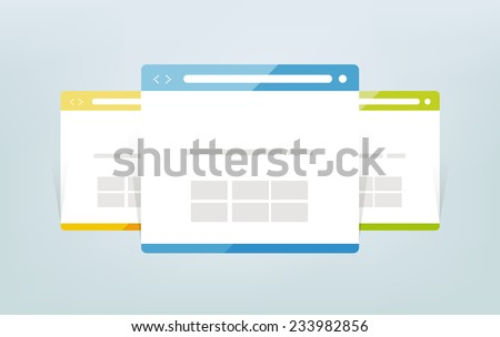 Simple set of browser window. - stock vector
