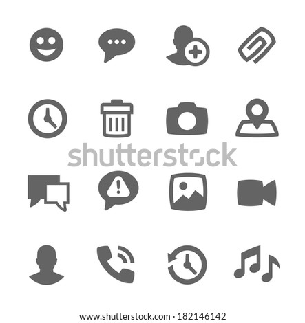 Simple set of chat related vector icons for your design - stock vector