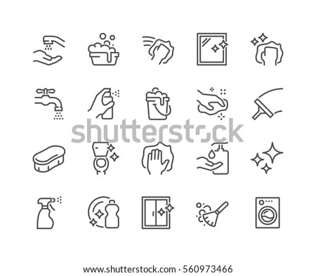 Simple Set of Cleaning Related Vector Line Icons.  Contains such Icons as Spray, Dust, Clean Surface, Sponge and more. Editable Stroke. 48x48 Pixel Perfect.