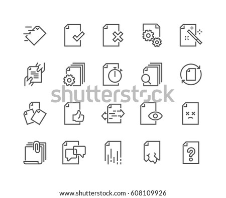 Simple Set of Document Flow Management Vector Line Icons.  Contains such Icons as Bureaucracy, Batch Processing, Accept, Decline Document and more. Editable Stroke. 48x48 Pixel Perfect.