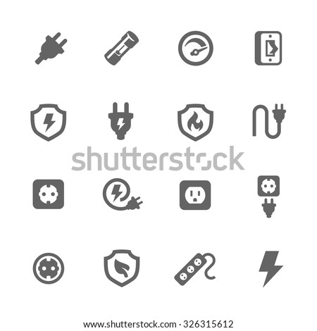 Simple Set of Electricity Related Vector Icons for Your Design. - stock vector