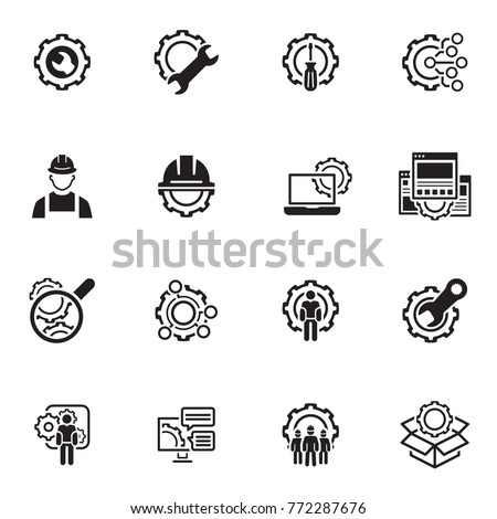 Simple Set of Engineering Flat Line Icons. Contains such Symbols as Manufacturing, Technology, Engineer, Team, Solutions, Service and more.