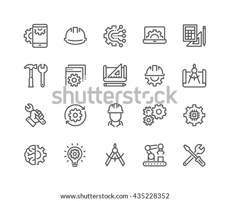 Simple Set of Engineering Related Vector Line Icons.  Contains such Icons as Manufacturing, Engineer, Production, Settings and more.  Editable Stroke. 48x48 Pixel Perfect.  - stock vector