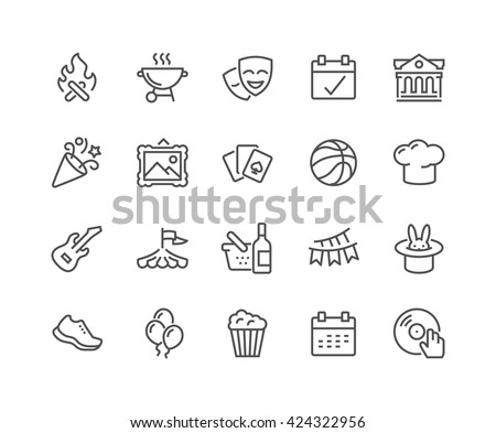 Simple Set of Event Related Vector Line Icons.  Contains such Icons as Bonfire, Guitar, Popcorn, Party, Festival and more.  Editable Stroke. 48x48 Pixel Perfect.  - stock vector