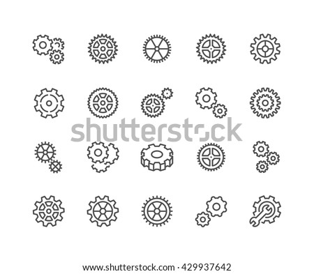 Simple Set of Gear Related Vector Line Icons.  Contains such Icons as Settings, Transmission, Gearwheel and more.  Editable Stroke. 48x48 Pixel Perfect.  - stock vector