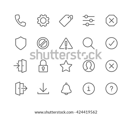 Simple Set of Interface Related Vector Line Icons.  Contains such Icons as Settings, Log in, Log out, Search, Notification and more.  Editable Stroke. 48x48 Pixel Perfect.  - stock vector