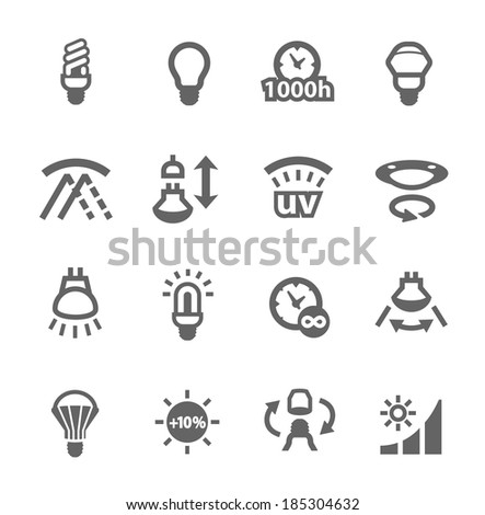 Simple set of lamp features related vector icons for your design - stock vector