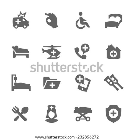Simple Set of Medical Transportation Related Vector Icons for Your Design.  - stock vector