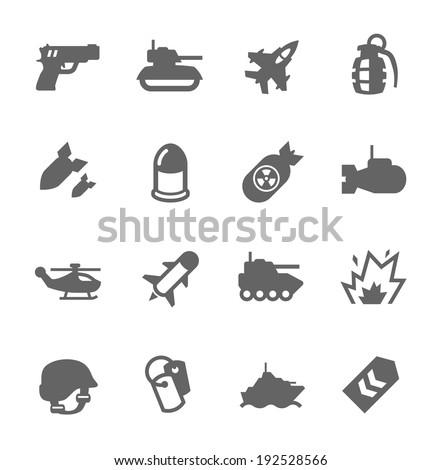 Simple Set of Military Related Vector Icons For Your Design - stock vector