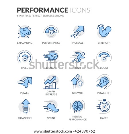 Simple Set of Performance Related Color Vector Line Icons.  Contains such Icons as Expansion, Power, Haste, Speed, Growth and more.  Editable Stroke. 64x64 Pixel Perfect.  - stock vector