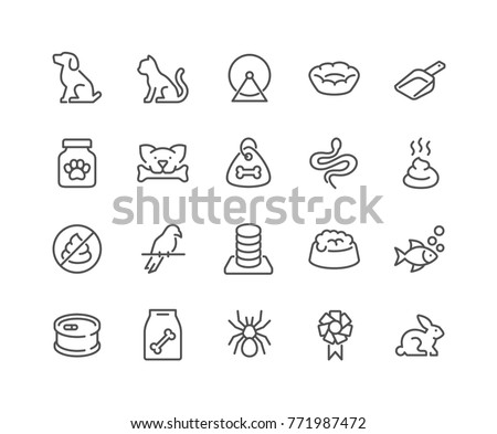 Simple Set of Pet Related Vector Line Icons.  Contains such Icons as Dog, Cat, Bird, Spider, Animal Food and more. Editable Stroke. 48x48 Pixel Perfect.